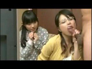 CFNM Japanese Mom Show Her Daughter How To Suck Bushy Cock