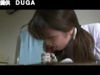 Japanese Young CFNM Brunette Nurse Give Gloves Handjob