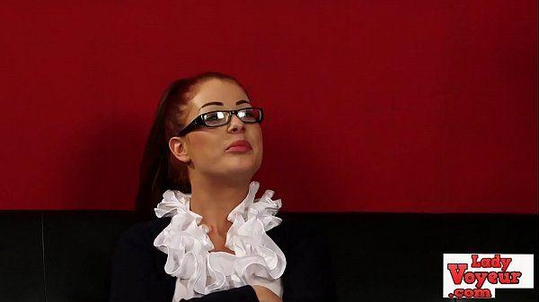Sexy British CFNM Slut Watches Lady Voyeurs Wank Sesh