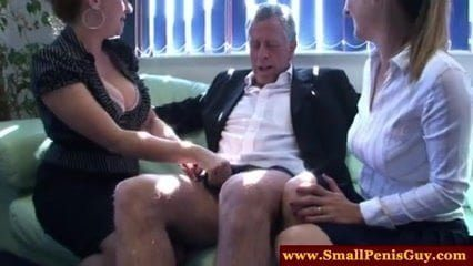 Little Dick Dude Gets Teased By Two Sexy CFNM MILFS