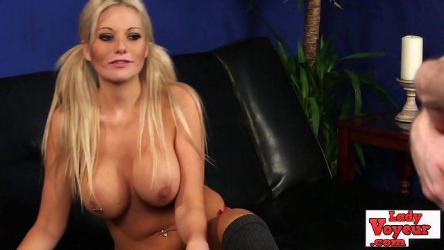 Stunning Busty CFNM Brit Babe Teasing Lady Voyeurs Horny Cock