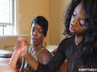 Two Naughty Black CFNM Girls Jerk A White Dick