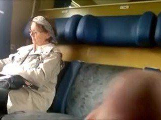 Older CFNM Ladie Get Train Dick Flash With Cum