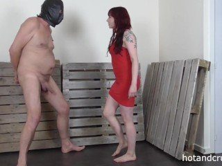 CFNM Crazy Redhead Likes To Punish By Kicking In The Nuts