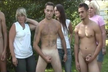 Guys Circle Jerk For CFNM Ladies In Forest