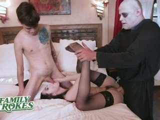 CFNM Halloween Costume Party Ends With Creepy Family Orgy