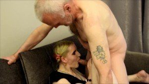 Old Guy Caught Wanking And Punished By Blonde Slut